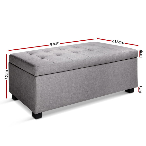 97cm Fabric Storage Ottoman-Light Grey-FREE SHIPPING
