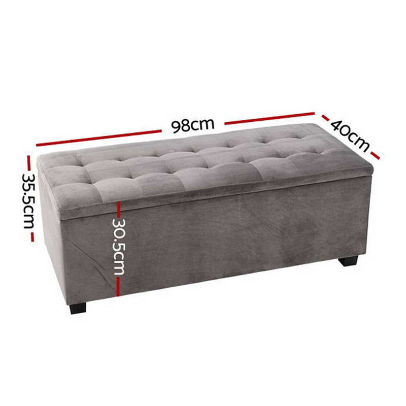 98cm Storage Ottoman Blanket Box-Velvet-Grey-FREE SHIPPING