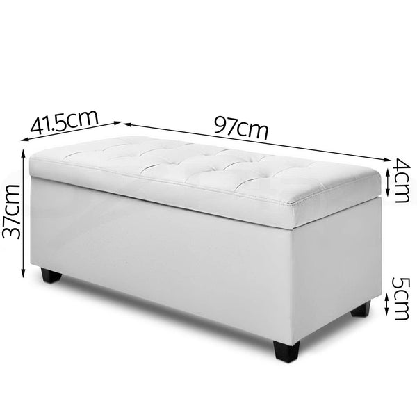 97cm PU Faux Leather Storage Ottoman-White-FREE SHIPPING