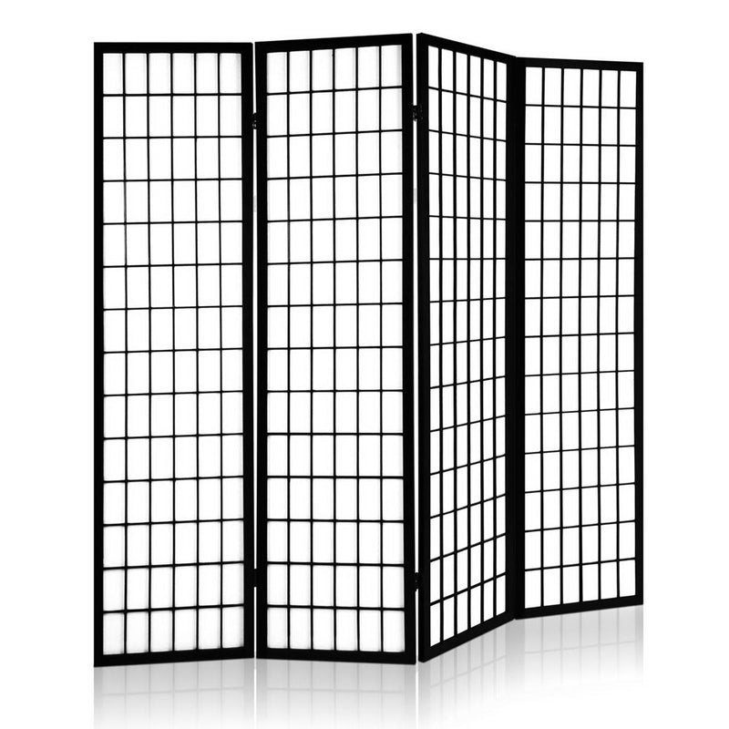 4 Panel Wooden Room Divider-Fabric-Black-FREE SHIPPING