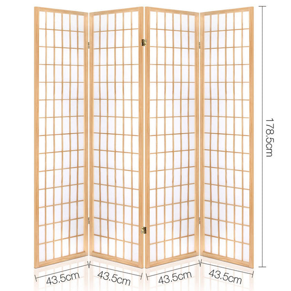 4 Panel Wooden Room Divider-Natural-FREE SHIPPING