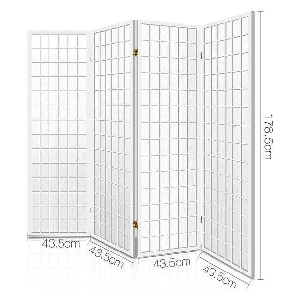 4 Panel Wooden Room Divider-White-FREE SHIPPING