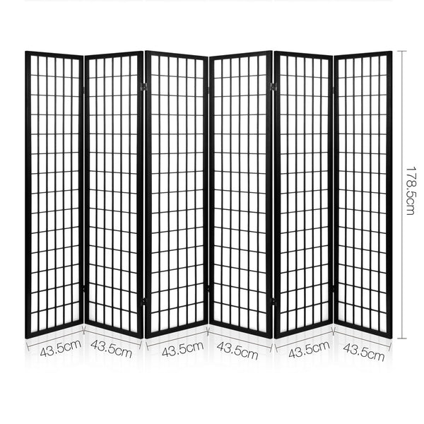 6 Panel Room Divider Privacy Screen-Pine Wood-Fabric Screen-Black-FREE SHIPPING