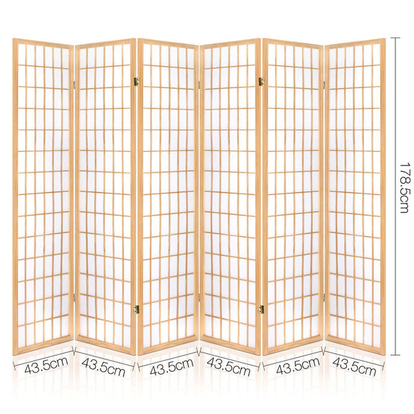 6 Panel Room Divider Privacy Screen-Pine Wood-Fabric Screen-Natural-FREE SHIPPING