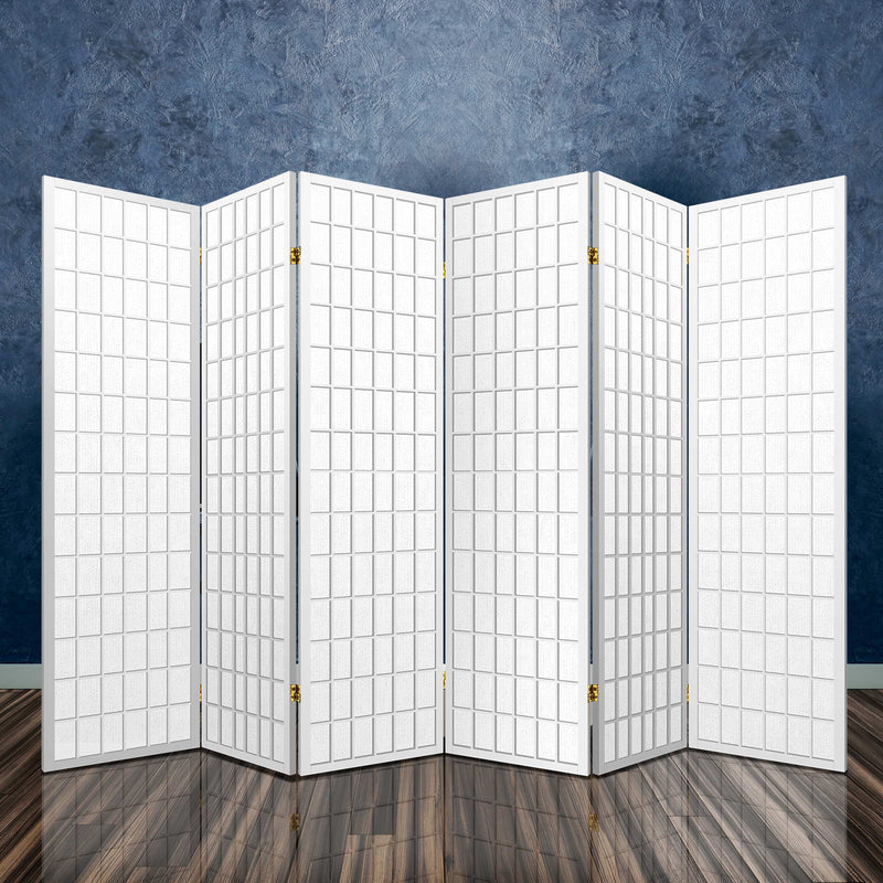 6 Panel Room Divider Privacy Screen-Pine Wood-Fabric Screen-White-FREE SHIPPING