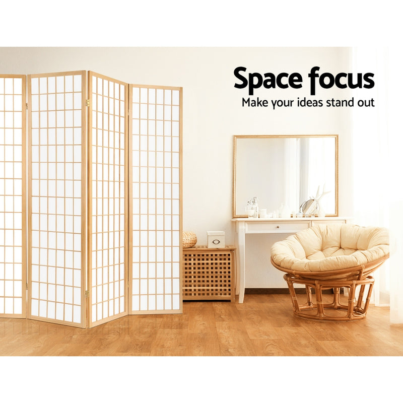 8 Panel Room Divider Privacy Screen-Oriental Vintage Natural-FREE SHIPPING