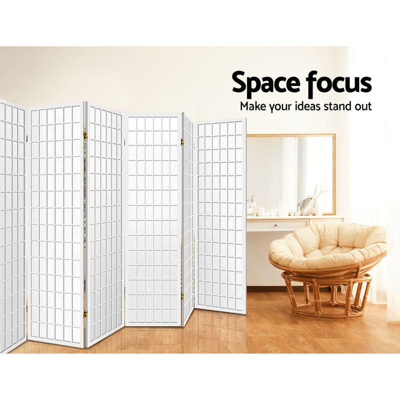 8 Panel Room Divider Privacy Screen-Oriental Vintage White-FREE SHIPPING