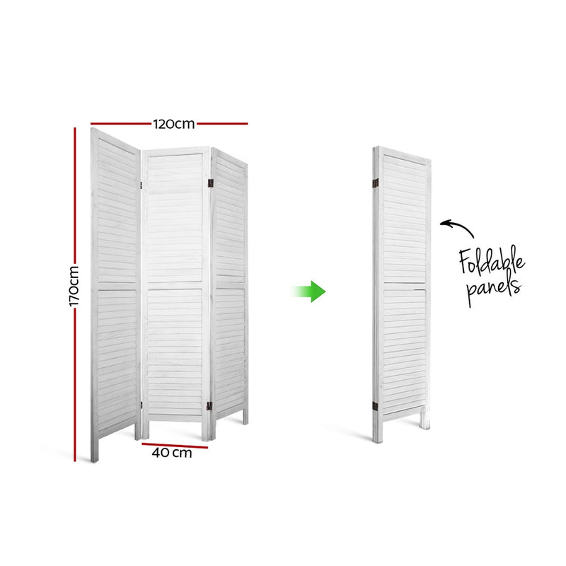 3 Panel Room Divider Privacy Screen-White-FREE SHIPPING