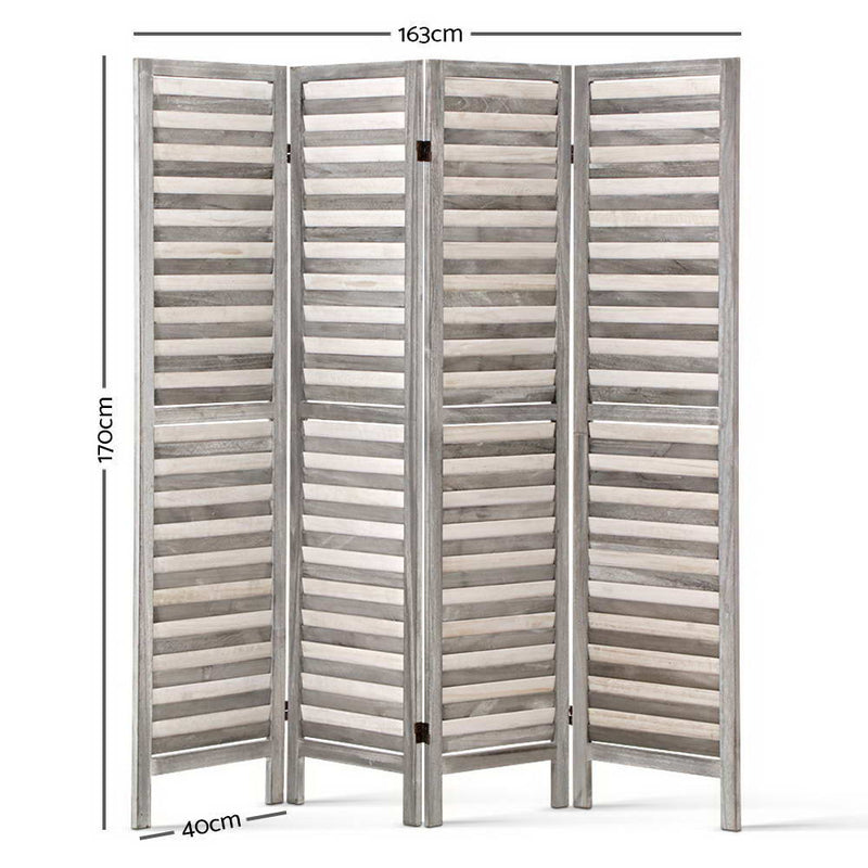 4 Panel Foldable Wooden Room Divider - Grey-FREE SHIPPING