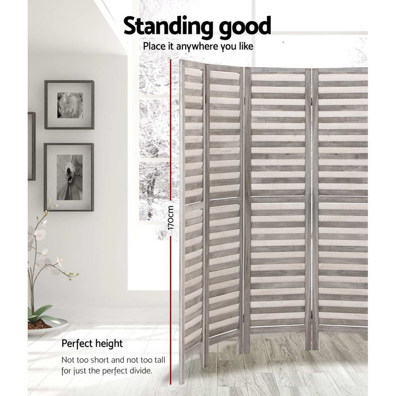 8 Panel Room Divider Privacy Screen-Grey-FREE SHIPPING