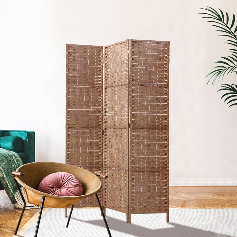 3 Panel Room Divider Screen Privacy-Rattan-Natural-FREE SHIPPING