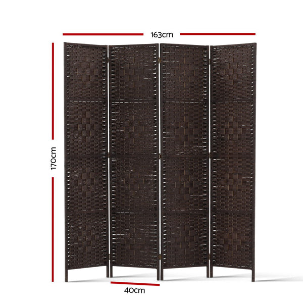 4 Panel Room Divider Privacy Screen-Woven Rattan-Brown-FREE SHIPPING