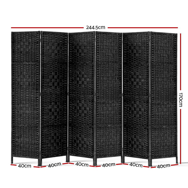 6 Panel Room Divider-Woven Rattan-Black-FREE SHIPPING