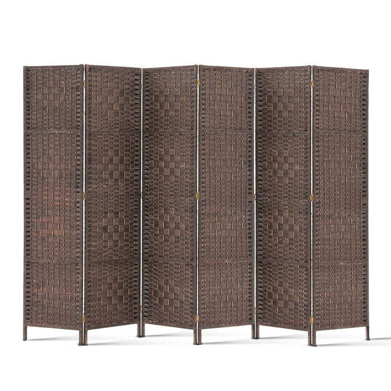 6 Panel Room Divider-Woven Rattan-Brown-FREE SHIPPING