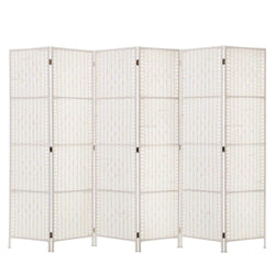 6 Panel Room Divider Privacy Screen-Rattan-Timber-White-FREE SHIPPING