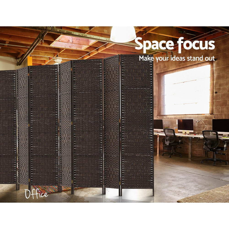 8 Panel Room Divider Privacy Screen-Woven Rattan-Brown-FREE SHIPPING
