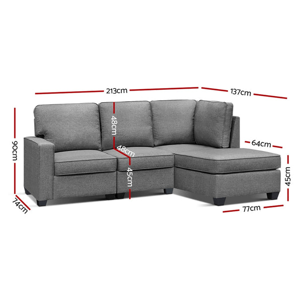 Chaise Sofa Lounge Set-Grey Fabric-FREE SHIPPING