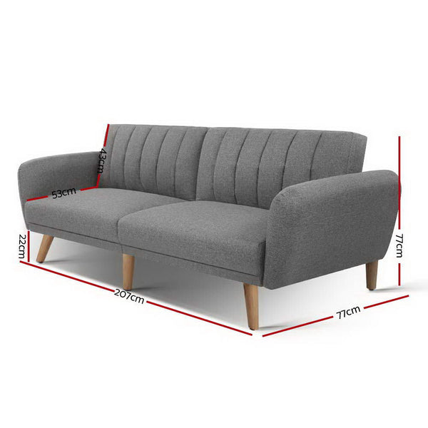 207CM-Sofa Bed Lounge-3 Seater-Fabric-Grey-FREE SHIPPING