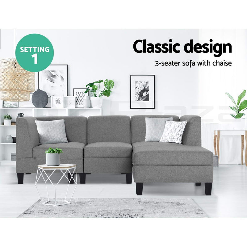 4 Seater Sofa Bed Set-Light Grey Fabric-FREE SHIPPING