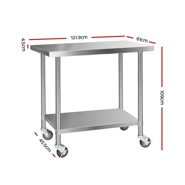 1219mm x 610mm, Cefito 304 Stainless Steel Kitchen Work Bench-Food Prep Table with Wheels-FREE SHIPPING