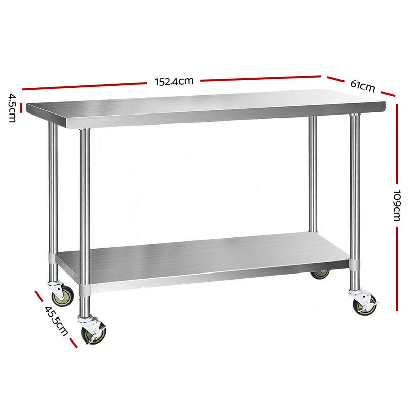 1524mm x 610mm, Cefito 304 Stainless Steel Kitchen Work Bench-Food Prep Table with Wheels-FREE SHIPPING