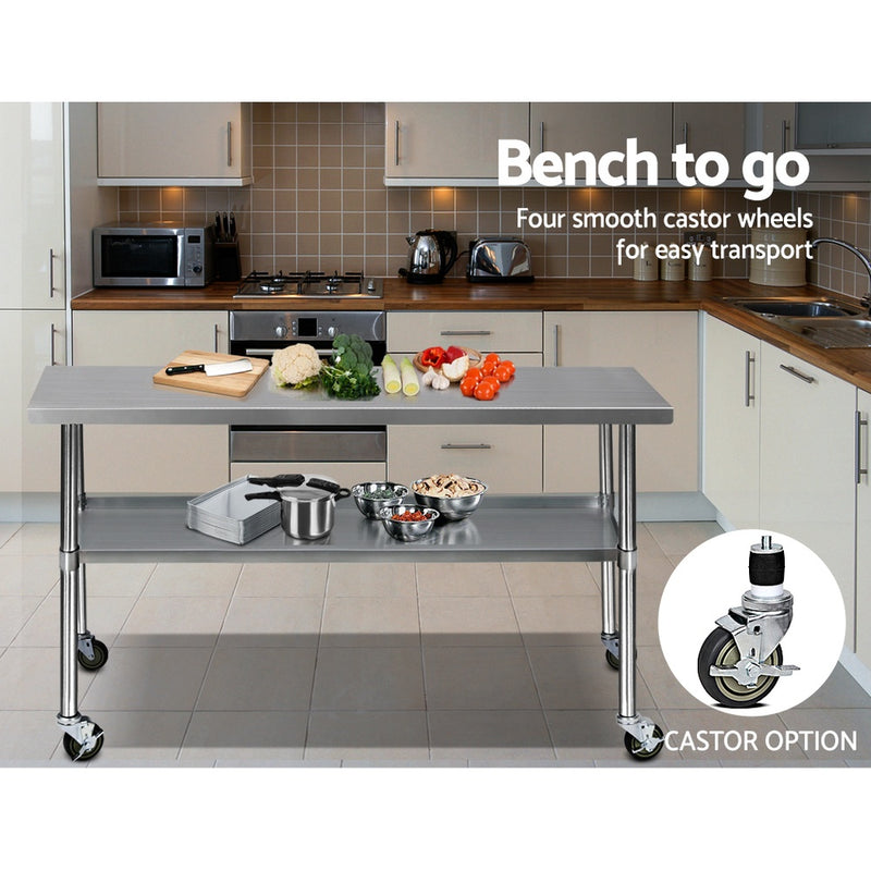 1829mm x 610mm, Cefito 304 Stainless Steel Kitchen Work Bench-Food Prep Table with Wheels-FREE DELIVERY