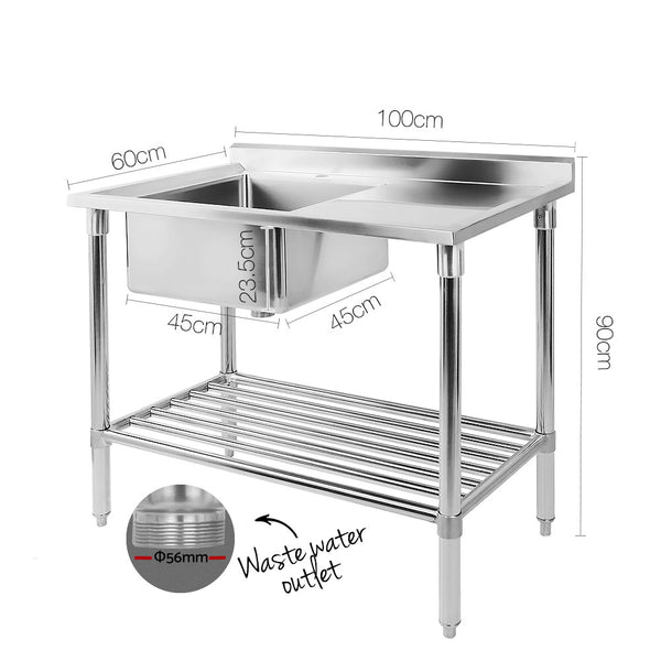 100cm x 60cm Commercial Stainless Steel Sink Kitchen Bench-FREE SHIPPING