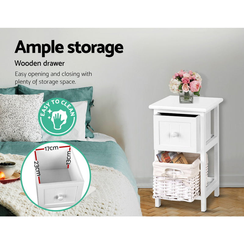 Set of 2 Bedside Tables-46cm High-White-FREE SHIPPING