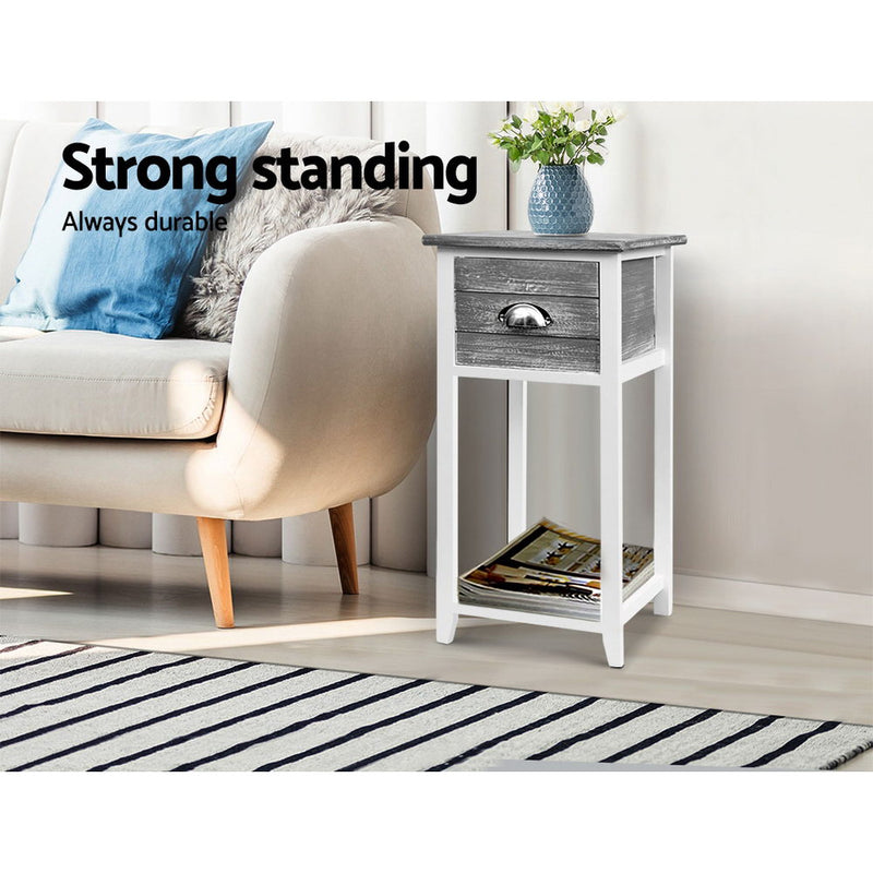 63cm High 1 Drawer Bedside Table-Grey-FREE SHIPPING