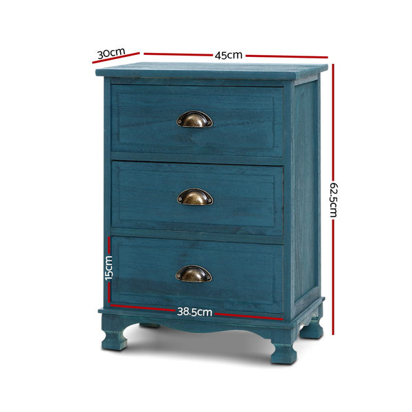 3 Drawer Bedside Table-Vintage Blue-62.5cm High-FREE SHIPPING