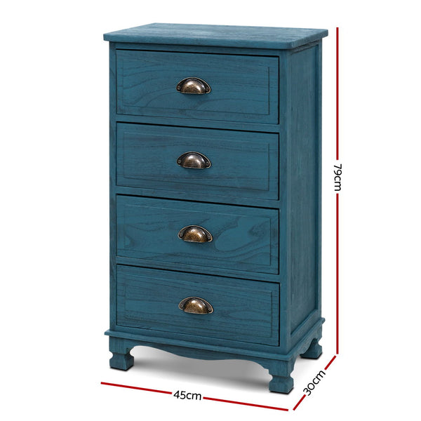 79cm, 4 Drawer Bedside Table-Blue-FREE SHIPPING