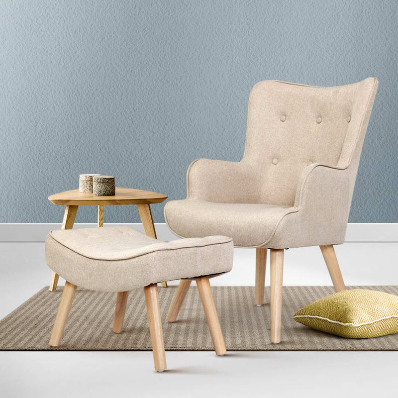 2 Piece Armchair and Ottoman Set-Fabric-Beige-FREE SHIPPING