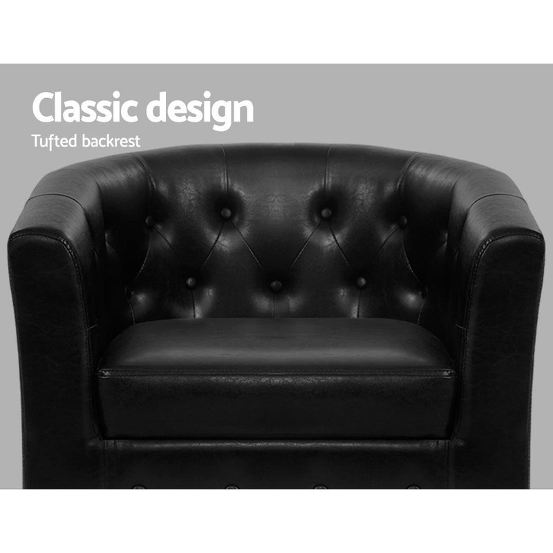 Armchair and Ottoman Set-PU Faux Leather-Black-FREE SHIPPING