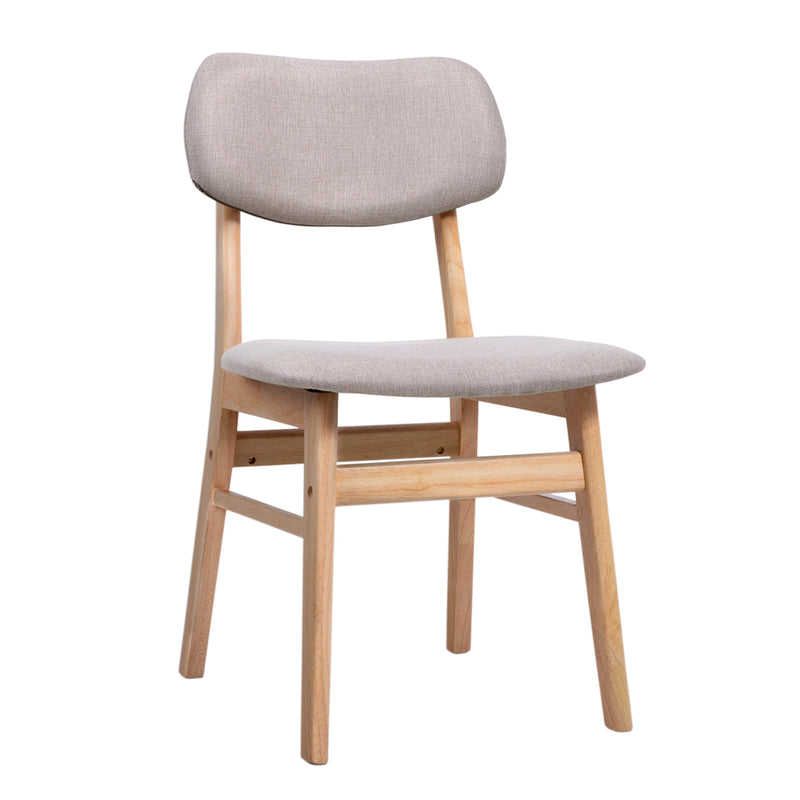 Set of 2 Dining Chairs-Wood Frame and Fabric Pad-Beige-FREE SHIPPING
