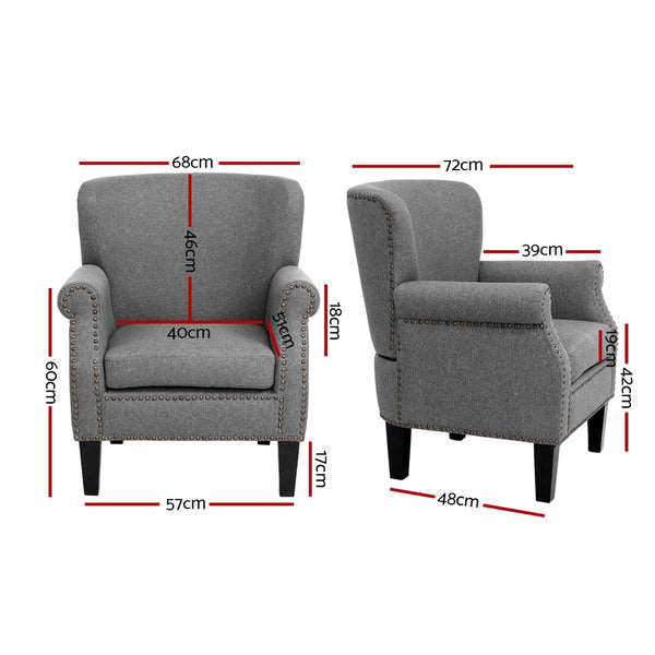 Accent Armchair-Retro-Fabric Seat-Grey-FREE SHIPPING