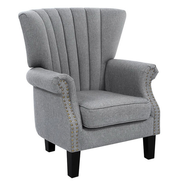 Upholstered Fabric Armchair-Grey-FREE SHIPPING