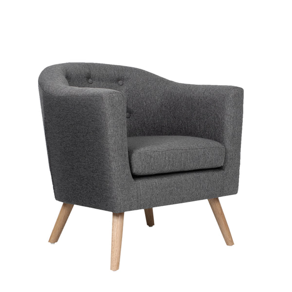 Tub Armchair-Fabric-Grey-FREE SHIPPING