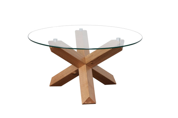 Sala glass top round Dining Table