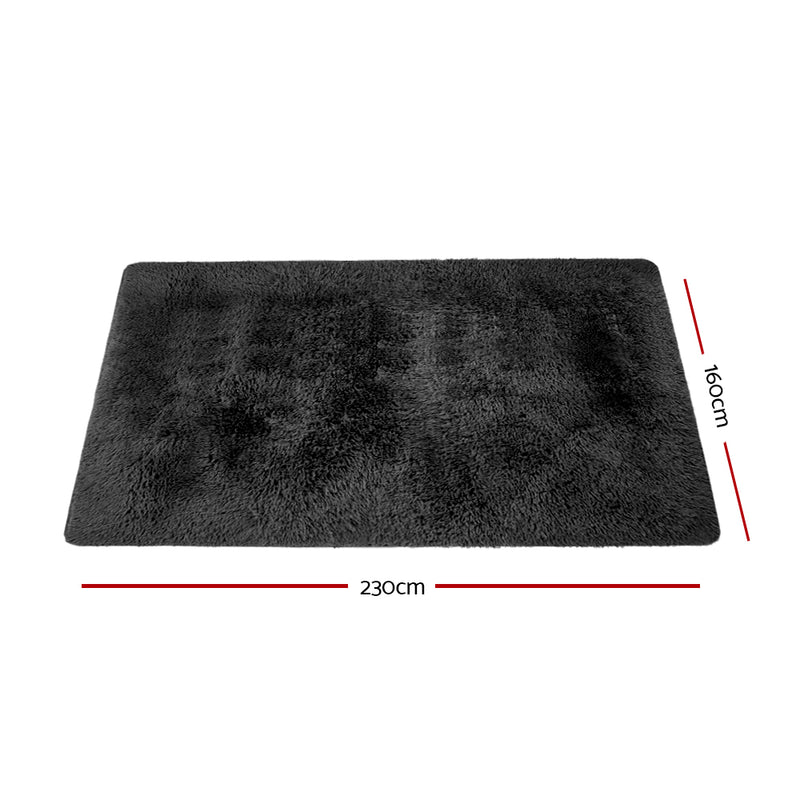 160cm x 230cm Ultra Soft Shaggy Rug-Black-FREE SHIPPING