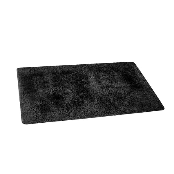 Artiss Floor Rugs Ultra Soft Shaggy Rug Large 200x230cm Carpet Mat Area Black