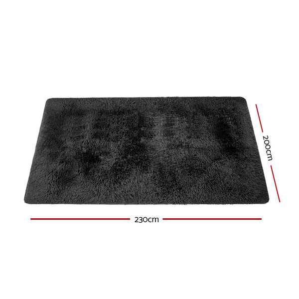 200cm x 230cm Floor Rug-Ultra Soft Shaggy-Black-FREE SHIPPING