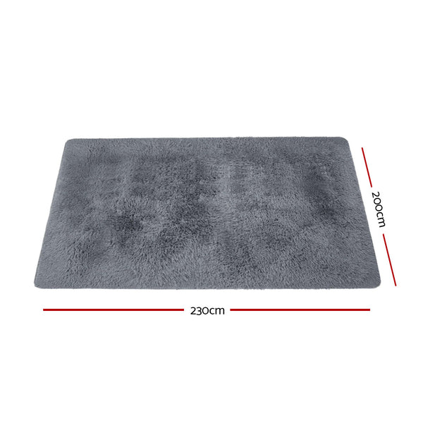 200cm x 230cm Floor Rug-Soft Shaggy Rug-Grey-FREE SHIPPING
