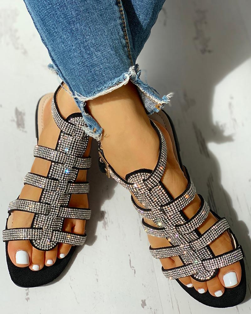 Studded Ankle-buckled Flat Sandals