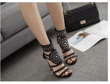 Load image into Gallery viewer, Goddess Beaded Ankle Heeled Sandal