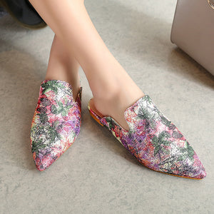 Silk Pointed Princetown Slippers