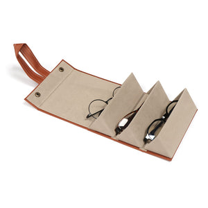 Marianne Multi-Slot Portable Leather Eyeglasses Organizer
