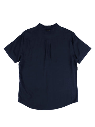 Razor Blade Short Sleeve Rayon Shirt - Navy Blue