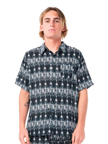 Matrix Cuban Short Sleeve Shirt - Black