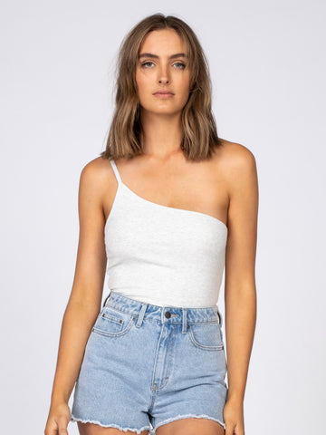 Got Me One Shoulder Ribbed Top - White Marle