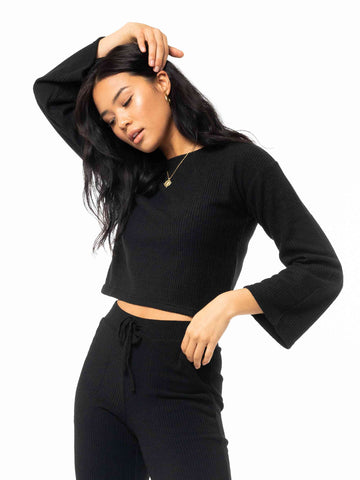 My Way Long Sleeve Knit Top - Black